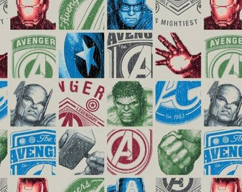 Marvel Avengers Hero Blocks Fabric in Cream  by the yard and other various lengths