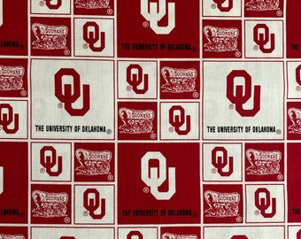 University of Oklahoma Logo 100% cotton fabric by the yard and half yard and other various lengths