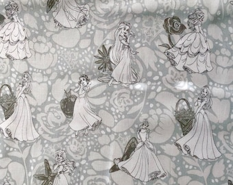 Disney Princess Featuring Various Characters in Gray Fabric By The Yard and half yard and other various lengths