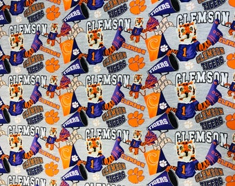 Clemson Tigers 100% cotton fabric by the yard and half yard and other various lengths