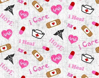 Nurse Grey & Pink Fabric by the yard , Backorder Item/Ships July 2020, Please read item description carefully. Thank you.