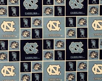 University of North Carolina Block Logos 100% cotton fabric by various lengths