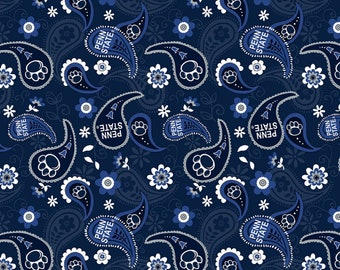 Penn State Paisley Blue fabric in various lengths
