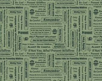 Smokey Bear Signs Light Green Fabric by the yard and half yard and other various lengths