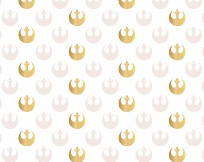 Featured listing image: Star Wars Fabric S.W. Watercolor Rebel Logo With Metallic Gold in White From Camelot 100% Premium Quality Cotton