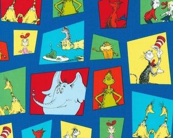 Dr. Seuss Fabric, Dr Seuss Characters, ADE-15669-4 Blue, Robert Kaufman, 100% Cotton