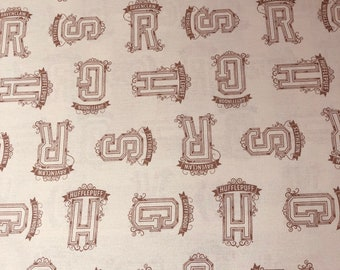 Harry Potter Fabric, HP Cream Houses Tonal Fabric, 100% Cotton, Camelot Fabrics, By the yard and other various lengths