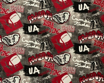 Alabama Crimson Tide Graffiti Style 100% cotton fabric by the yard and half yard and other various lengths