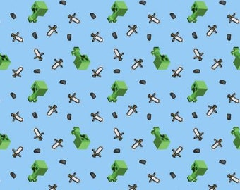 Mojang Minecraft Mini Mob Creeper Fabric by the yard, half yard and other various lengths