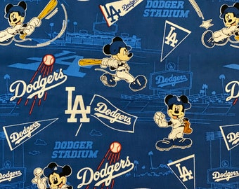 "RARE Mickey Mouse Baseball Fabric, L.A. Dodgers Fabric, Dodgers Fabric,  LA Dodgers MLB Fabric in various lengths by 44""width"