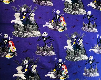 Disney Nightmare Before Christmas Jack Sally & Zero Fabric by the yard and fat quarter only