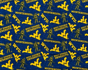West Virginia University Toss 100% cotton fabric by various lengths