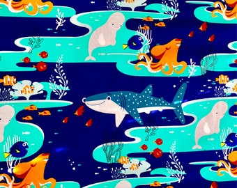 Pixar Finding Dory Fabric Featuring Dory, Marlin, Nemo, Bailey, Destiny, and Hank by the yard and half yard and other various lengths