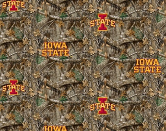 Iowa State University Cyclones Realtree Camo Fabric 100% cotton fabric in various lengths