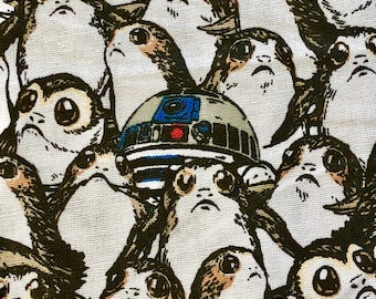 Star Wars Porg and R2D2 Fabric by the yard and half yard and other various lengths