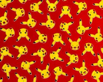Pokemon Fabric, Pikachu, Cotton Fabric, By The Yard, Pokemon Pikachu