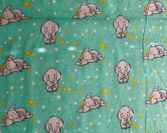 Disney Nursery Dumbo in Mint Fabric By The Yard and half yard and other various lengths