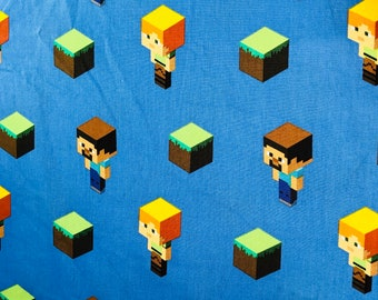 Minecraft Alex & Steve Toss Fabric by the half yard and full yard and other various lengths