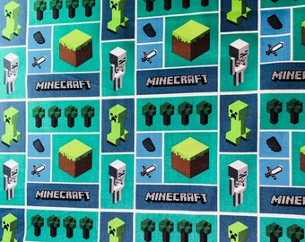 Minecraft Mosaic Mojang  Fabric by the yard and half yard and other various lengths