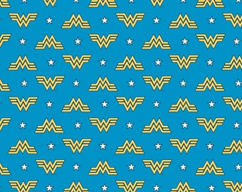 This Will Not Ship Until Jul/Aug 2020, Read Item Description On How To Order, Wonder Woman Classic Logo Blue Fabric in various lengths