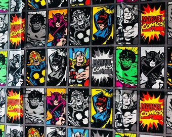 Marvel Characters Heads Fabric by the Yard (Single 1 Yard Cut)