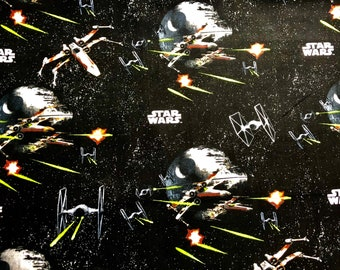 Star Wars Death Star Battle Scene featuring Death Star, TIE Fighter, and X-Wing Fabric by the yard and half yard and other various lengths