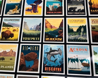 National Parks Posters Black by the yard and other various lengths