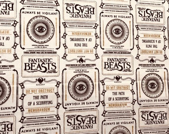 Fantastic Beasts Fabric, Cream Newsprint & Symbols w/Metallic Fabric by various lengths
