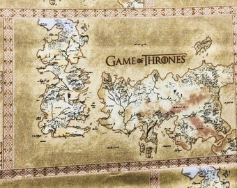 Game of Thrones Map of Westros fabric by the yard and half yard and other various lengths