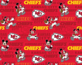 This Will Not Ship Until October 2020, Read Item Details For Presale Ordering Info, Kansas City Chiefs & Mickey Mouse fabric various lengths
