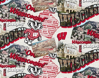 Wisconsin Badgers Scenic Map Cotton fabric by the yard and half yard and other various lengths