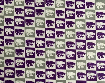 Kansas State University Logo 100% cotton fabric by the yard and half yard and other various lengths