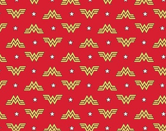 This Will Not Ship Until August 2020, Please Read Item Description On How To Order, Wonder Woman Classic Logo Red Fabric in various lengths