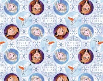 Disney Frozen 2 Fabric, Elsa Fabric, Anna Fabric & Olaf Fabric, Mythic Journey Badges Fabric in Various Lengths