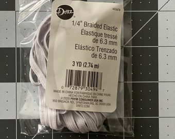 "1/4"" Braided Elastic 3 Yard Pack, Face Mask Elastic"