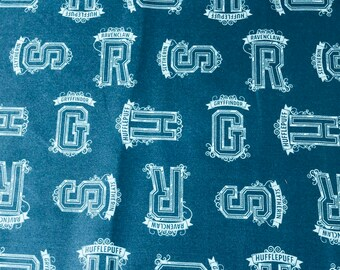 Harry Potter Fabric, Teal Houses Tonal Fabric, 100% Cotton, Camelot Fabrics, By the yard and half yard and other various lengths