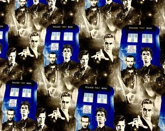 Doctor Who Tardis Fabric by the yard and half yard and other various lengths