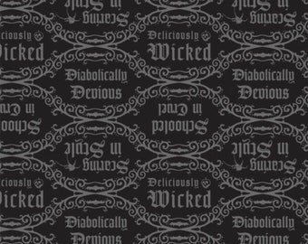 Disney Villain's Diabolical Quotes Black Fabric By The Yard and other lengths