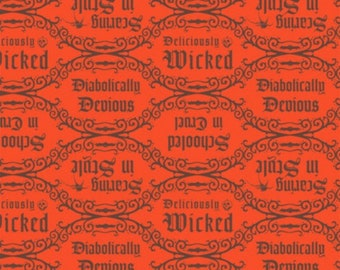 Disney Villain's Diabolical Quotes Red Fabric By The Yard and other lengths