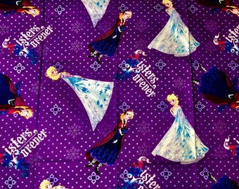 Disney Frozen Fabric Featuring Queen Elsa and Princess Anna By The Yard and half yard and other various lengths