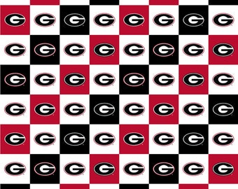 Georgia Bulldogs Squares Digitally Printed fabric by the yard and half yard and other various lengths