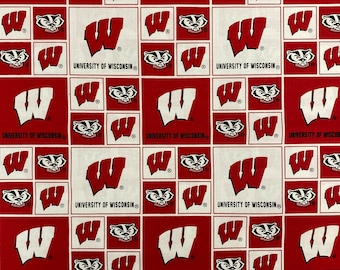 Wisconsin Badgers Logo Cotton fabric by the yard and half yard and other various lengths
