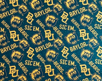 Baylor University Printed fabric by the yard and half yard and other various lengths