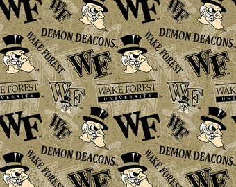 Wake Forest Demon Deacons Tone on Tone Cotton  Fabric in various lengths