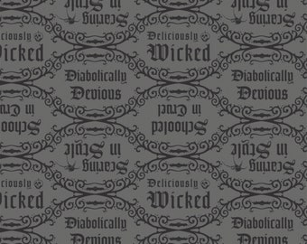 Disney Villain's Diabolical Quotes Grey Fabric By The Yard and other lengths