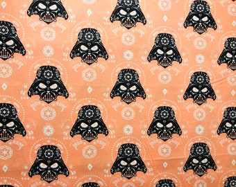 Darth Vader Sugar Skull Fabric by the yard and half yard and other various lengths