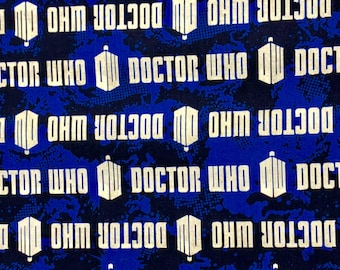 Doctor Who Logo and Tardis Fabric by the yard and half yard and other various lengths
