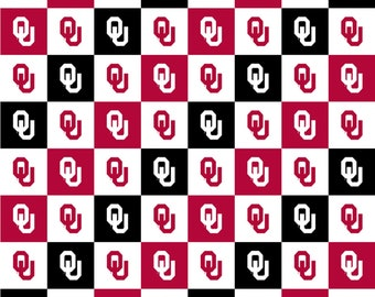 University of Oklahoma Logo Squares 100% cotton fabric by various lengths