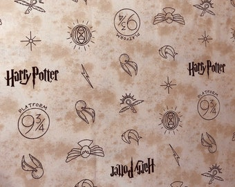 Harry Potter Fabric, Dark Cream Symbols Fabric, Camelot Fabrics, By the yard and half yard and other various lengths