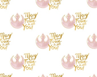 White Star Wars Watercolor Golden Script w/Metallic fabric by the yard and half yard and other various lengths